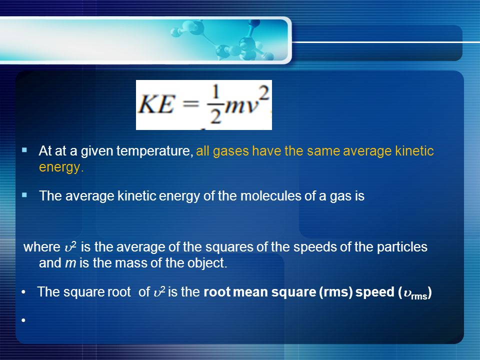  At at a given temperature, all gases have the same average kinetic energy.