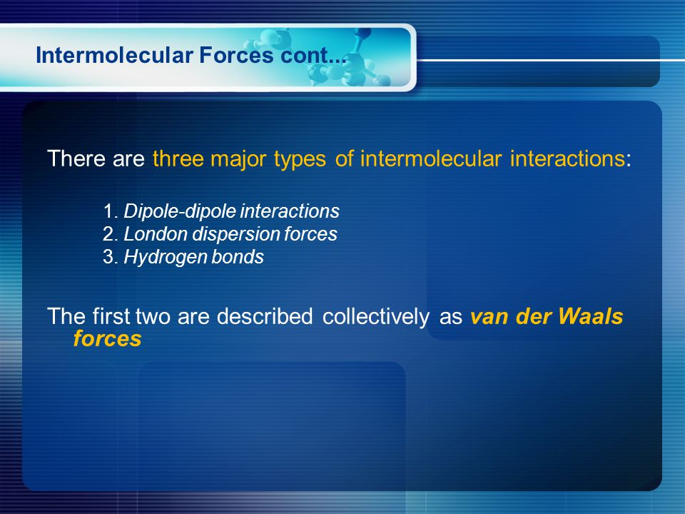 Intermolecular Forces cont... There are three major types of intermolecular interactions: 1.