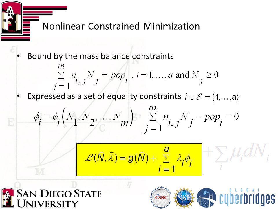 Nonlinear Constrained Minimization Bound by the mass balance constraints Expressed as a set of equality constraints