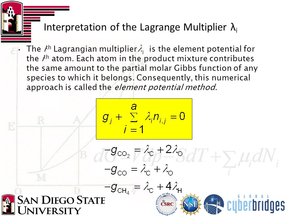 The i th Lagrangian multiplier is the element potential for the i th atom.