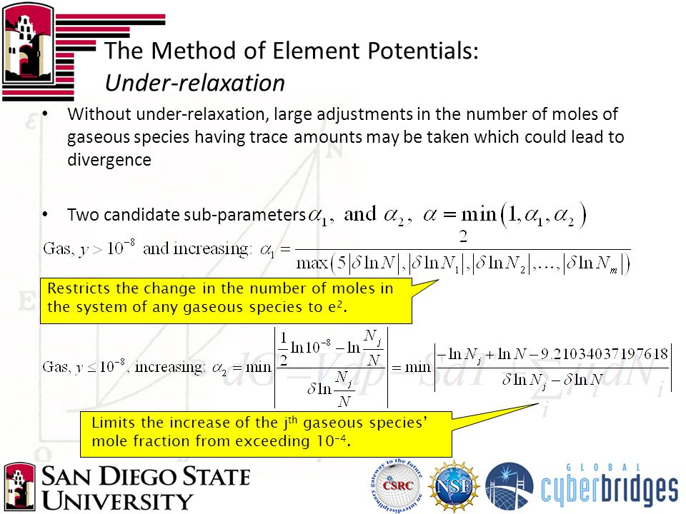 The Method of Element Potentials: Under-relaxation Without under-relaxation, large adjustments in the number of moles of gaseous species having trace