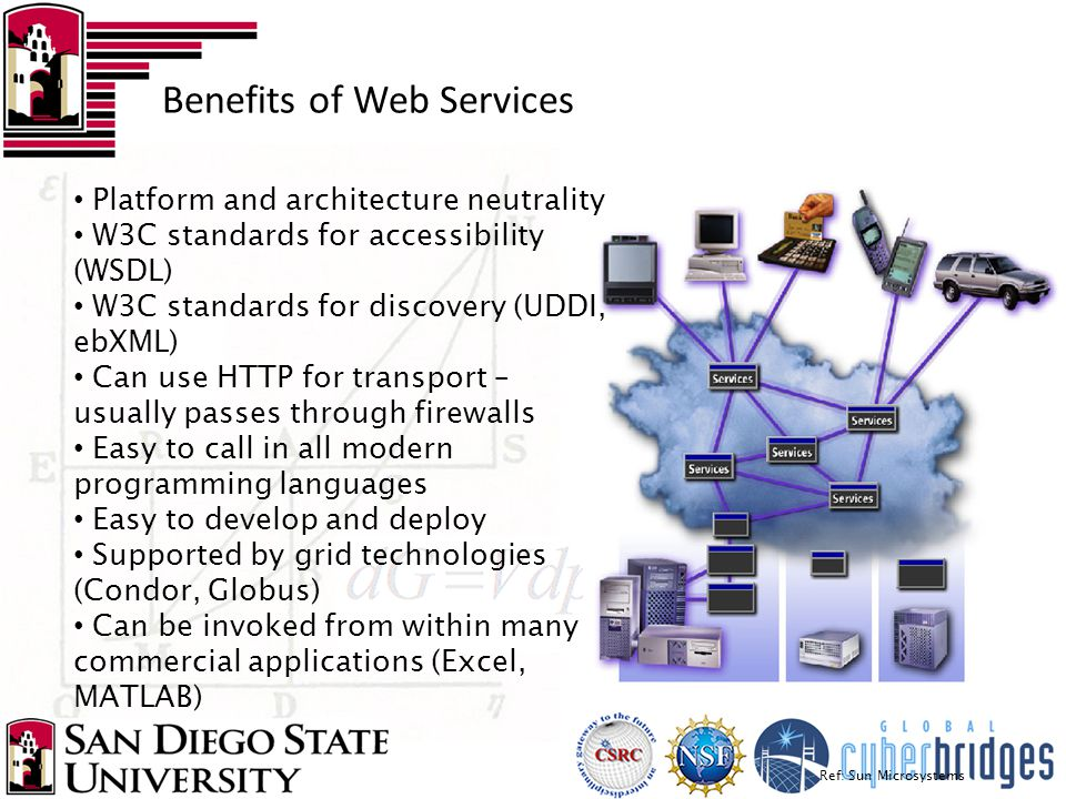 Benefits of Web Services Ref: Sun Microsystems Platform and architecture neutrality W3C standards for accessibility (WSDL) W3C standards for discovery
