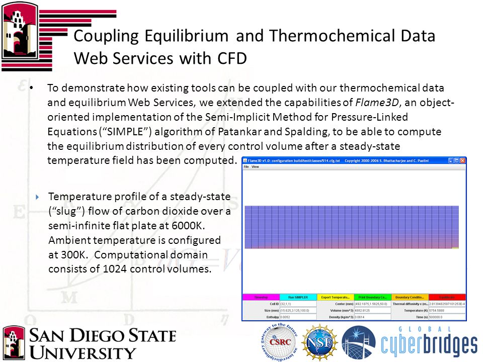 To demonstrate how existing tools can be coupled with our thermochemical data and equilibrium Web Services, we extended the capabilities of Flame3D, a