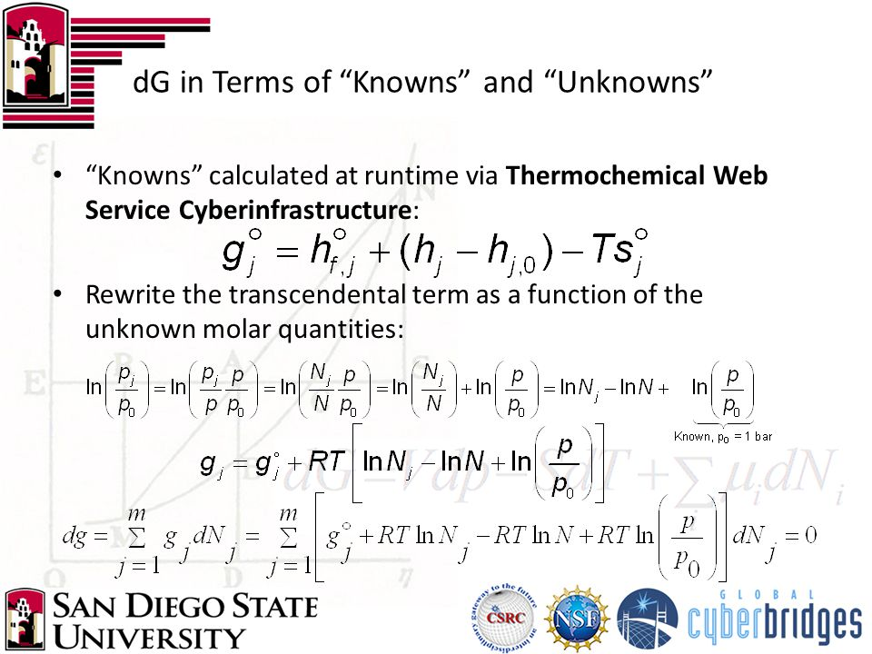 """dG in Terms of """"Knowns"""" and """"Unknowns"""" """"Knowns"""" calculated at runtime via Thermochemical Web Service Cyberinfrastructure: Rewrite the transcendental t"""