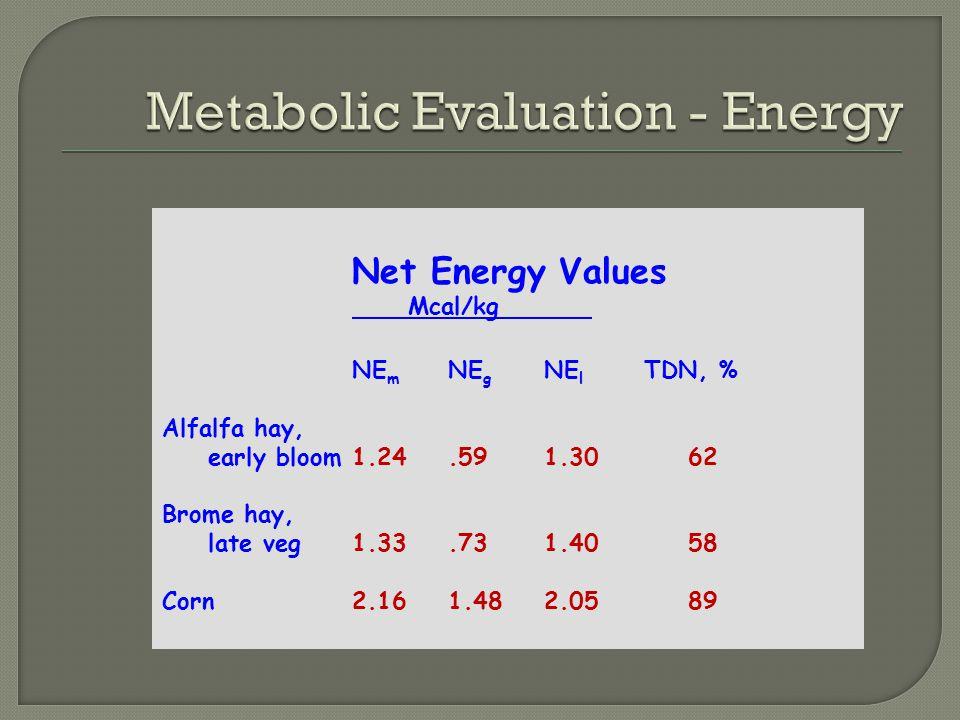 NE m NE g NE l TDN, % Alfalfa hay, early bloom1.24.591.3062 Brome hay, late veg1.33.731.4058 Corn2.161.482.0589 Net Energy Values Mcal/kg
