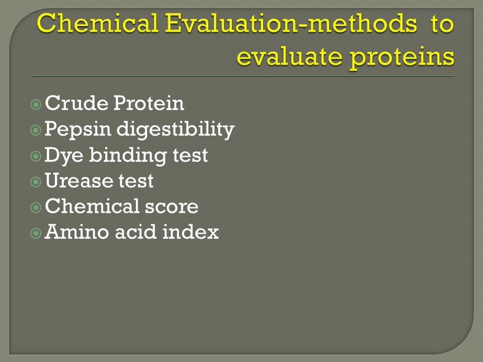  Crude Protein  Pepsin digestibility  Dye binding test  Urease test  Chemical score  Amino acid index