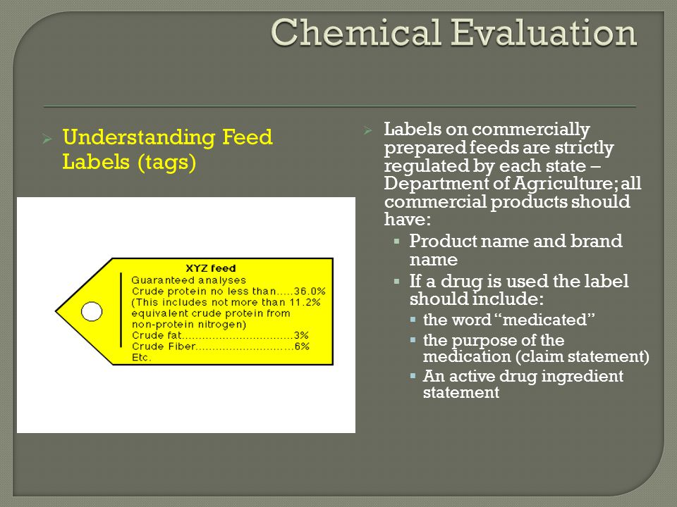  Directions for use and precautionary statements  Guaranteed analysis of the feed:  minimum percentage of crude protein  maximum or minimum percentage of equivalent protein from non-protein nitrogen  minimum percentage of crude fat  maximum percentage of crude fiber  moisture guarantees for canned pet foods