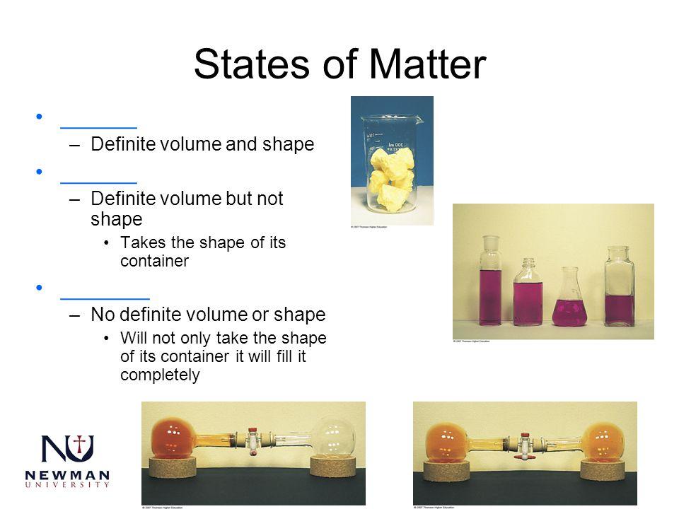 States of Matter ______ –Definite volume and shape ______ –Definite volume but not shape Takes the shape of its container _______ –No definite volume