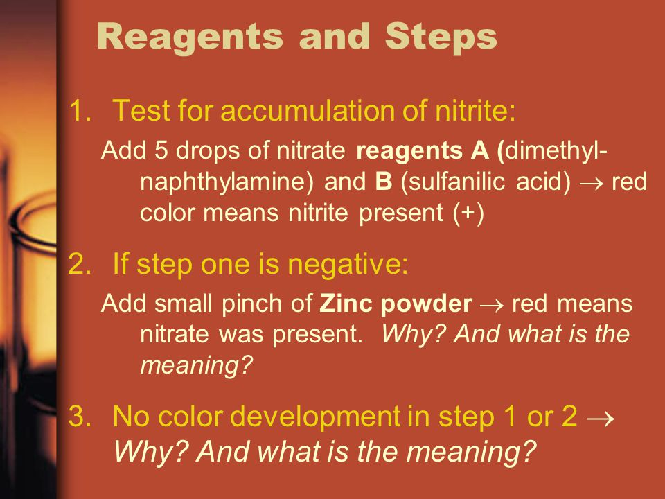 Reagents and Steps 1.Test for accumulation of nitrite: Add 5 drops of nitrate reagents A (dimethyl- naphthylamine) and B (sulfanilic acid)  red color means nitrite present (+) 2.If step one is negative: Add small pinch of Zinc powder  red means nitrate was present.