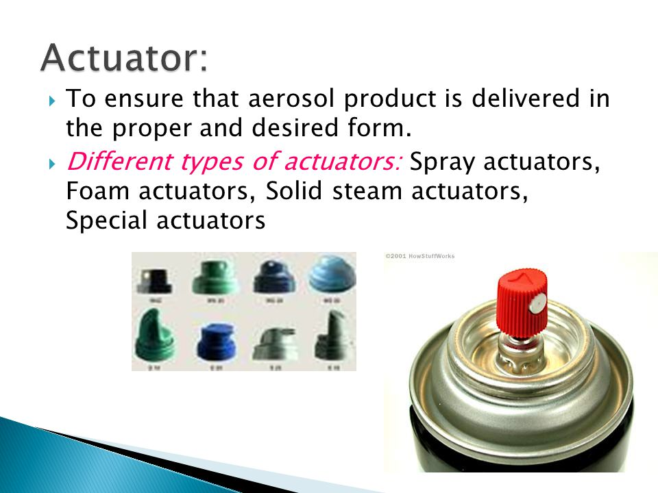  To ensure that aerosol product is delivered in the proper and desired form.  Different types of actuators: Spray actuators, Foam actuators, Solid s