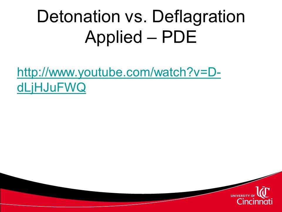 Detonation vs. Deflagration Applied – PDE http://www.youtube.com/watch?v=D- dLjHJuFWQ