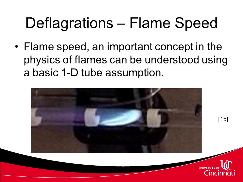 Deflagrations – Flame Speed Flame speed, an important concept in the physics of flames can be understood using a basic 1-D tube assumption. [15]