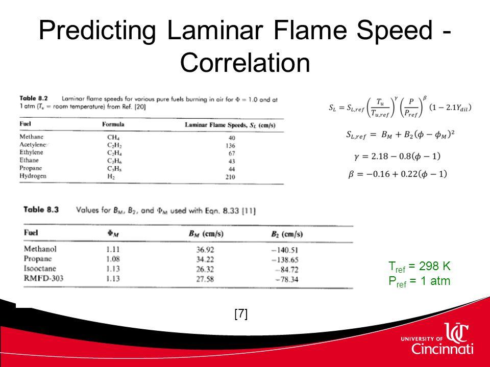 Predicting Laminar Flame Speed - Correlation [7] T ref = 298 K P ref = 1 atm