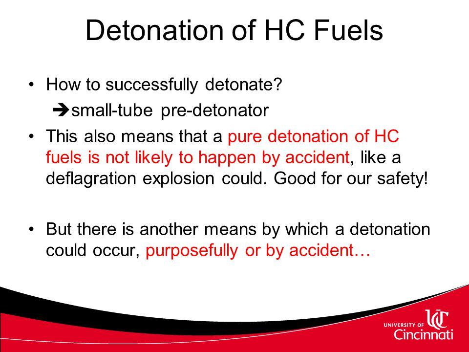 Detonation of HC Fuels How to successfully detonate?  small-tube pre-detonator This also means that a pure detonation of HC fuels is not likely to ha