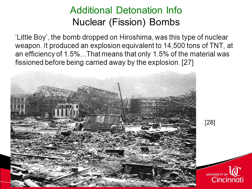 Additional Detonation Info Nuclear (Fission) Bombs 'Little Boy', the bomb dropped on Hiroshima, was this type of nuclear weapon. It produced an explos