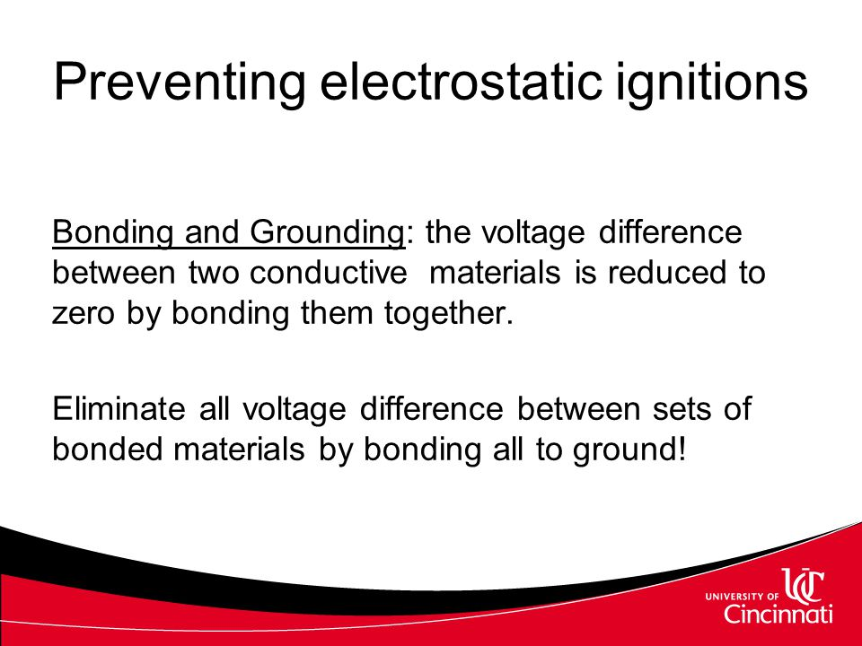 Bonding and Grounding: the voltage difference between two conductive materials is reduced to zero by bonding them together. Eliminate all voltage diff