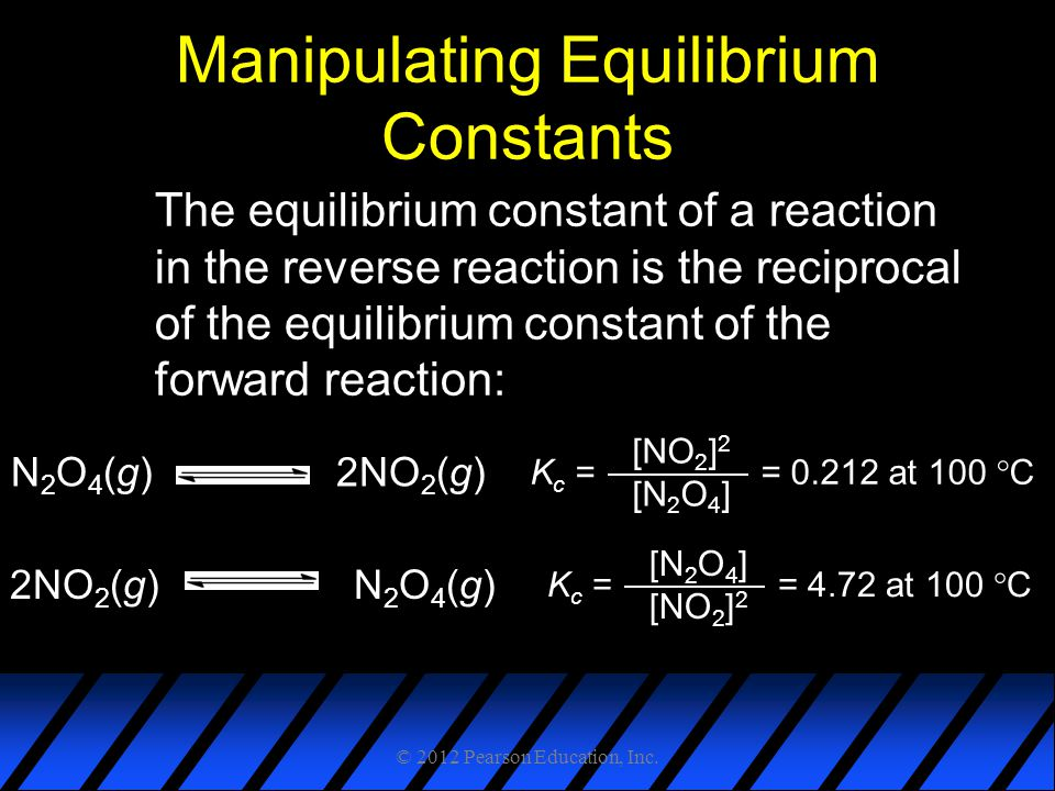 Manipulating Equilibrium Constants The equilibrium constant of a reaction in the reverse reaction is the reciprocal of the equilibrium constant of the