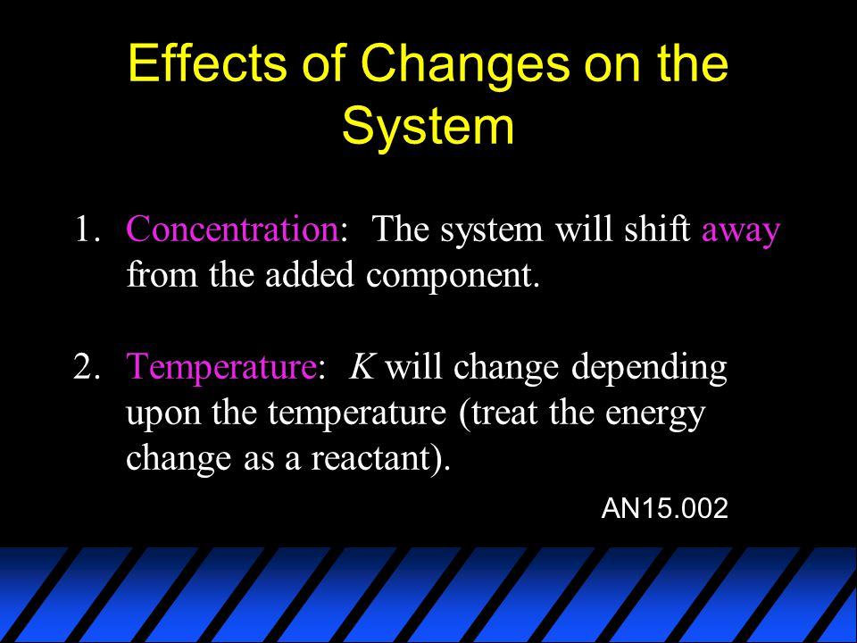 Effects of Changes on the System 1.Concentration: The system will shift away from the added component. 2.Temperature: K will change depending upon the