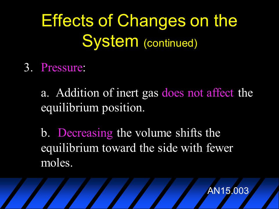 Effects of Changes on the System (continued) 3.Pressure: a. Addition of inert gas does not affect the equilibrium position. b. Decreasing the volume s
