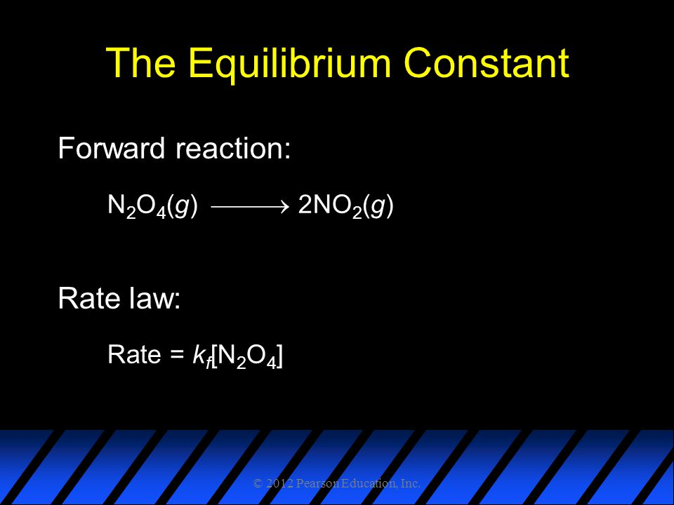 The Equilibrium Constant Forward reaction: N 2 O 4 (g)  2NO 2 (g) Rate law: Rate = k f [N 2 O 4 ] © 2012 Pearson Education, Inc.