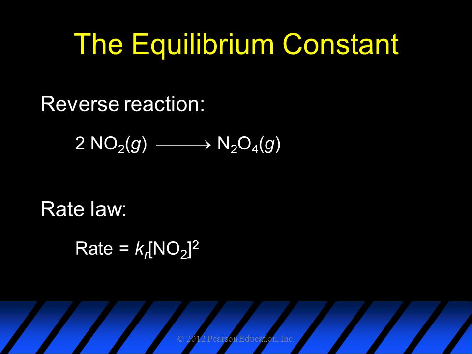 The Equilibrium Constant Reverse reaction: 2 NO 2 (g)  N 2 O 4 (g) Rate law: Rate = k r [NO 2 ] 2 © 2012 Pearson Education, Inc.