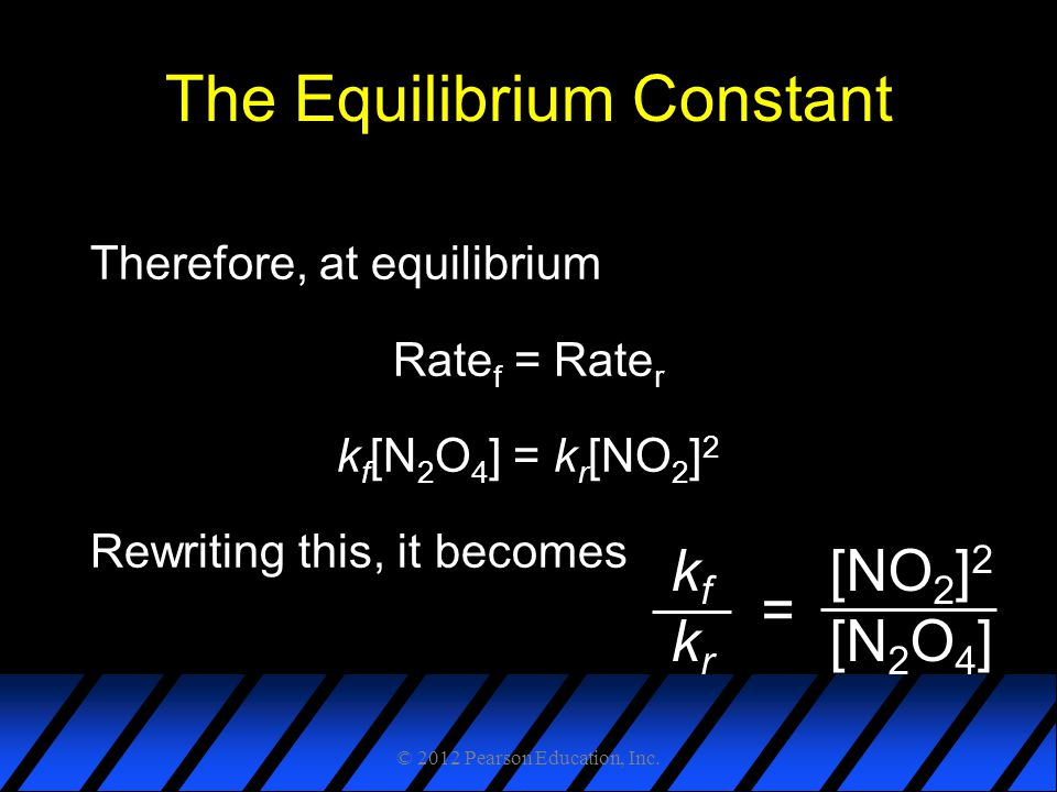 The Equilibrium Constant Therefore, at equilibrium Rate f = Rate r k f [N 2 O 4 ] = k r [NO 2 ] 2 Rewriting this, it becomes kfkrkfkr [NO 2 ] 2 [N 2 O