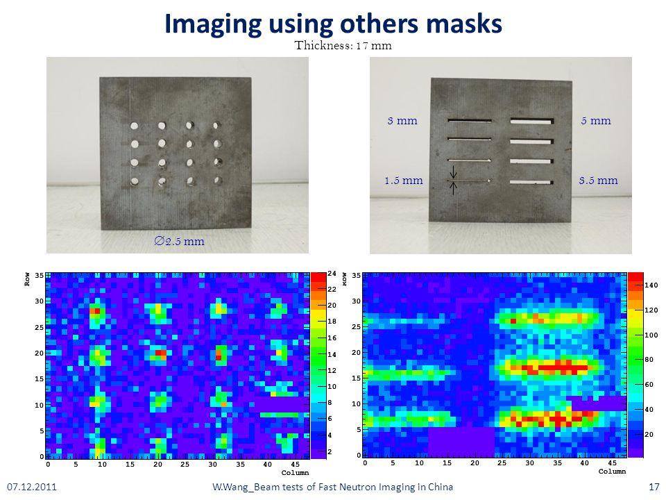1.5 mm 3 mm 3.5 mm 5 mm  2.5 mm Thickness: 17 mm Imaging using others masks W.Wang_Beam tests of Fast Neutron Imaging in China1707.12.2011