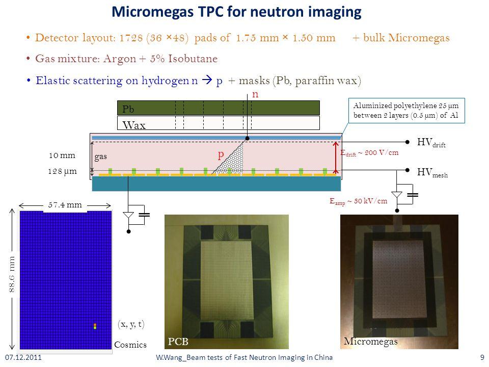 gas 128 µm HV mesh E amp ~ 30 kV/cm Micromegas TPC for neutron imaging 10 mm HV drift E drift ~ 200 V/cm Wax Pb Detector layout: 1728 (36 ×48) pads of 1.75 mm × 1.50 mm Gas mixture: Argon + 5% Isobutane + bulk Micromegas Elastic scattering on hydrogen n  p + masks (Pb, paraffin wax) PCB Micromegas n p Aluminized polyethylene 25 µm between 2 layers (0.5 µm) of Al 57.4 mm 88.6 mm Cosmics (x, y, t) W.Wang_Beam tests of Fast Neutron Imaging in China907.12.2011