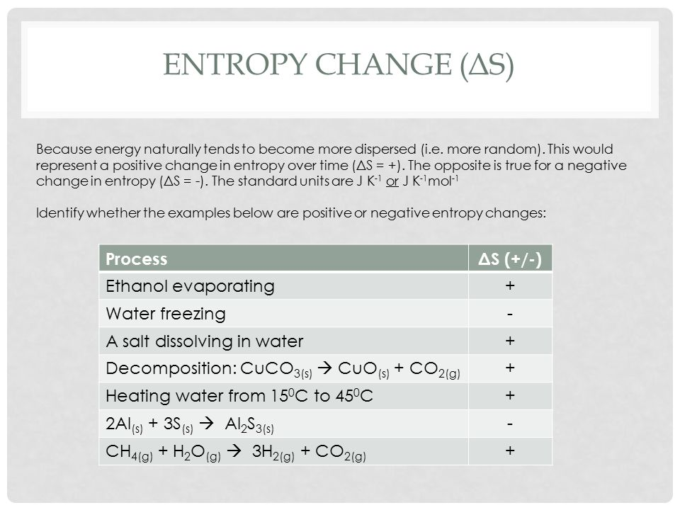 ENTROPY CHANGE (ΔS) Because energy naturally tends to become more dispersed (i.e.