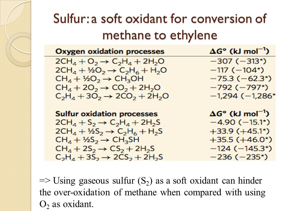 Sulfur: a soft oxidant for conversion of methane to ethylene => Using gaseous sulfur (S 2 ) as a soft oxidant can hinder the over-oxidation of methane