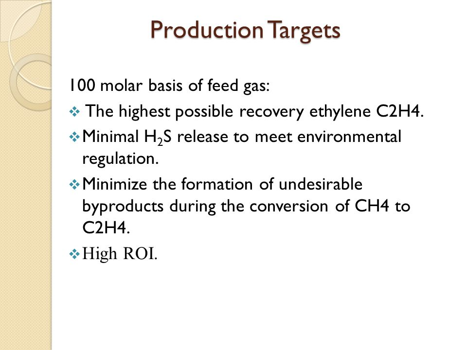 Production Targets 100 molar basis of feed gas:  The highest possible recovery ethylene C2H4.