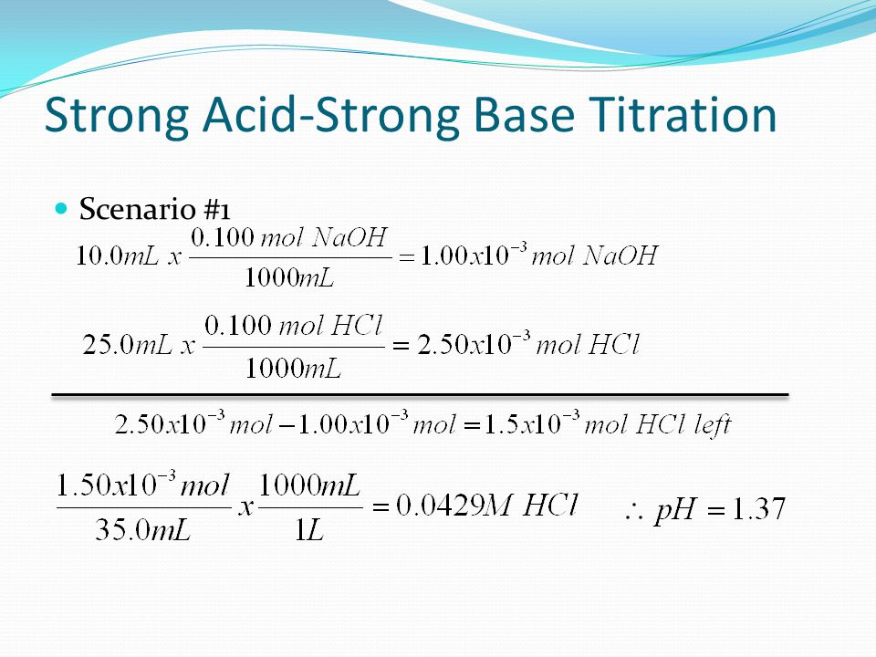 Strong Acid-Strong Base Titration Scenario #1: After addition of 10.0 mL of 0.100 M NaOH to 25.0 mL of 0.100 M HCl.