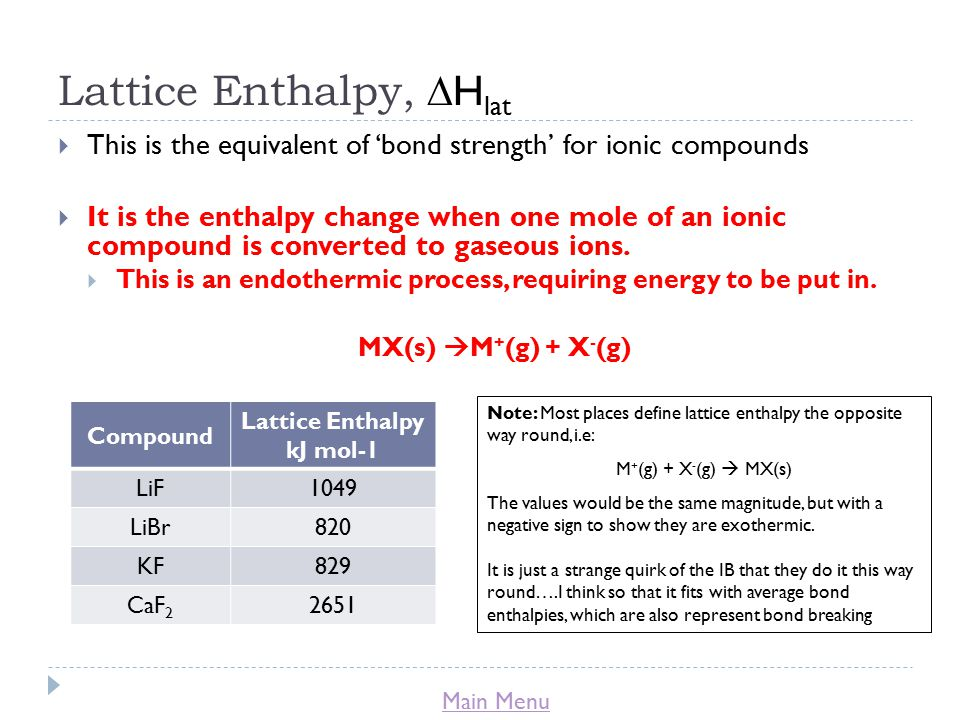 Main Menu Lattice Enthalpy,  H lat  This is the equivalent of 'bond strength' for ionic compounds  It is the enthalpy change when one mole of an ionic compound is converted to gaseous ions.