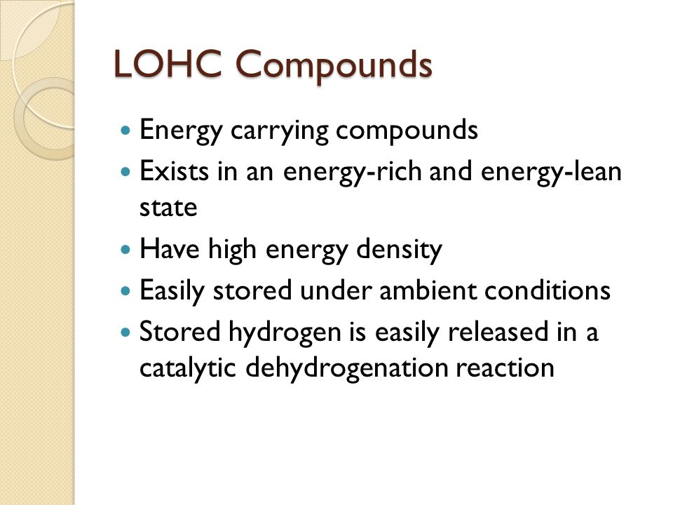 LOHC Compounds Energy carrying compounds Exists in an energy-rich and energy-lean state Have high energy density Easily stored under ambient conditions Stored hydrogen is easily released in a catalytic dehydrogenation reaction