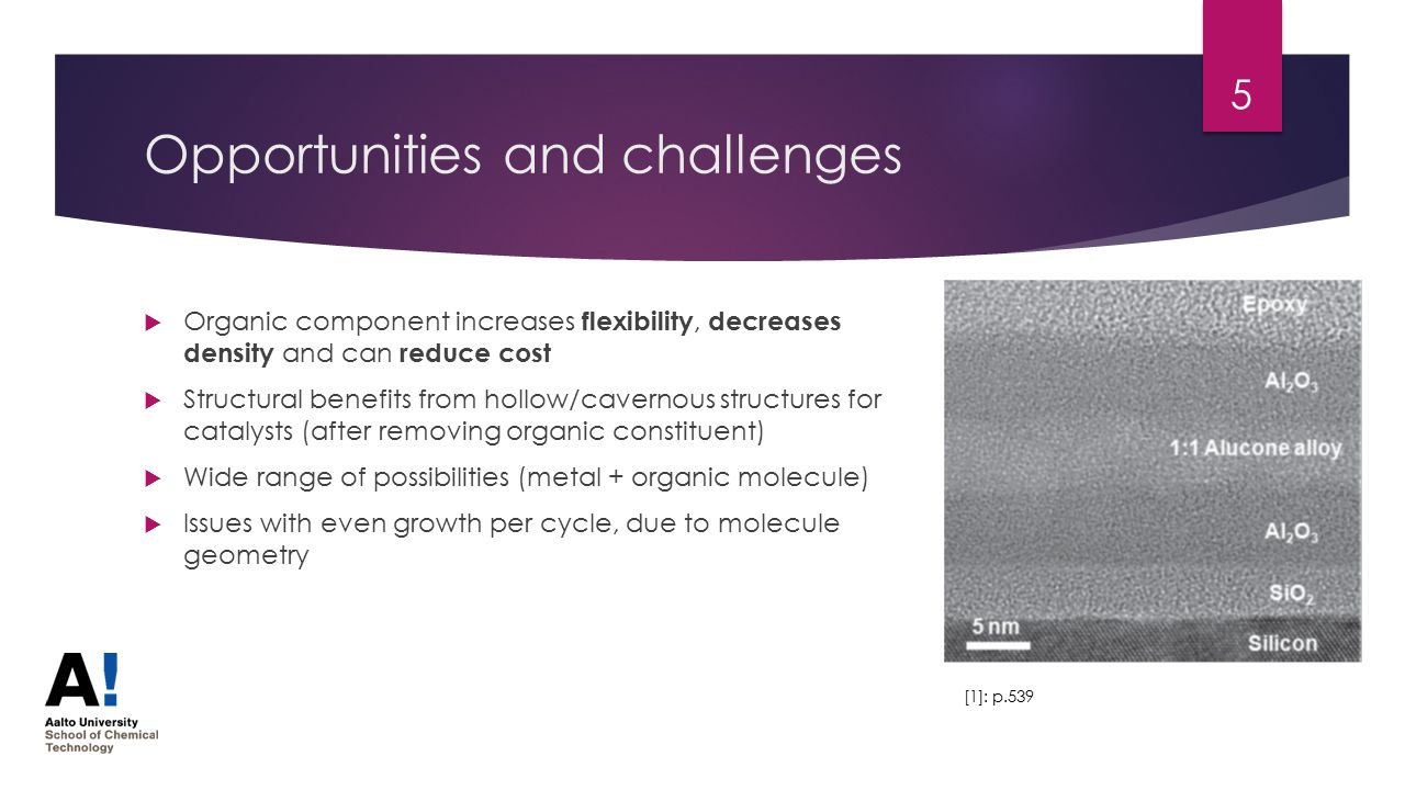 Opportunities and challenges  Organic component increases flexibility, decreases density and can reduce cost  Structural benefits from hollow/cavernous structures for catalysts (after removing organic constituent)  Wide range of possibilities (metal + organic molecule)  Issues with even growth per cycle, due to molecule geometry 5 [1]: p.539