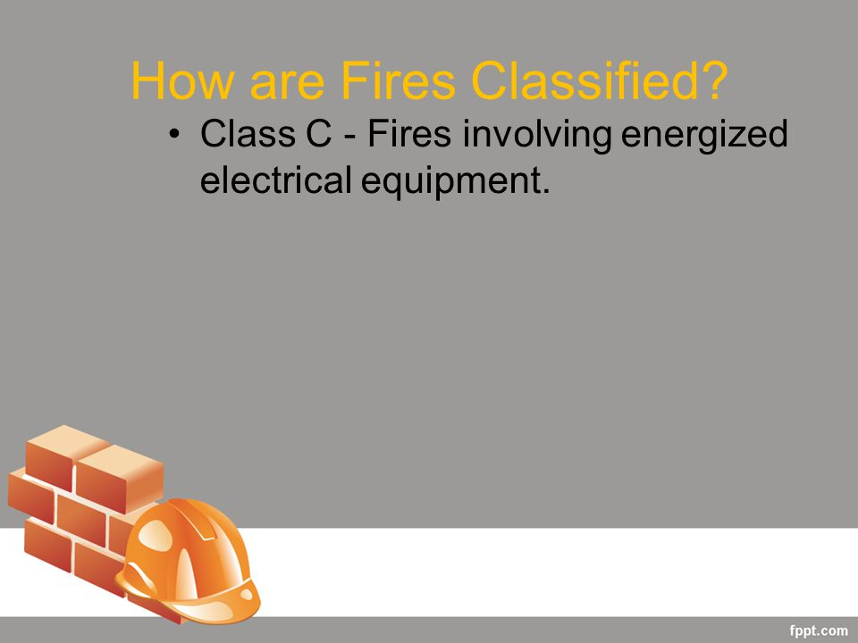 How are Fires Classified Class C - Fires involving energized electrical equipment.
