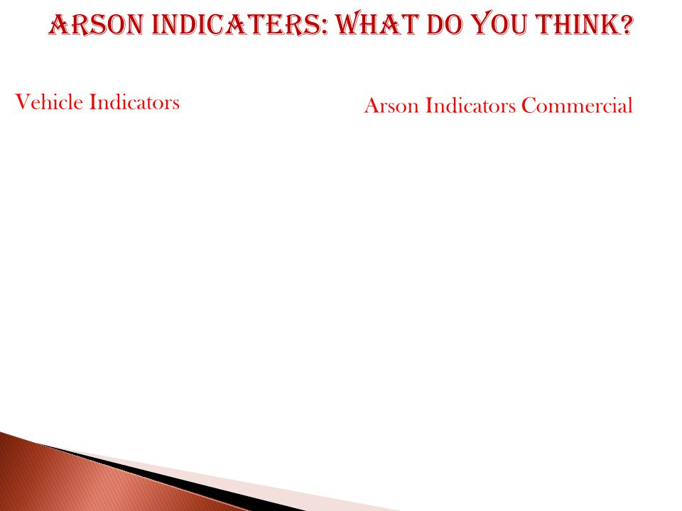 Arson indicaters: What do you think Arson Indicators Commercial Vehicle Indicators
