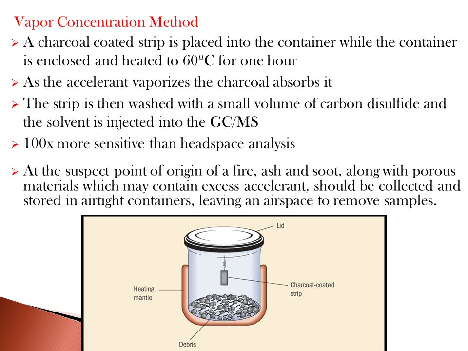  A charcoal coated strip is placed into the container while the container is enclosed and heated to 60ºC for one hour  As the accelerant vaporizes the charcoal absorbs it  The strip is then washed with a small volume of carbon disulfide and the solvent is injected into the GC/MS  100x more sensitive than headspace analysis Vapor Concentration Method  At the suspect point of origin of a fire, ash and soot, along with porous materials which may contain excess accelerant, should be collected and stored in airtight containers, leaving an airspace to remove samples.
