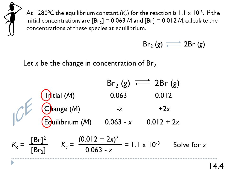 At C the equilibrium constant (K c ) for the reaction is 1.1 x