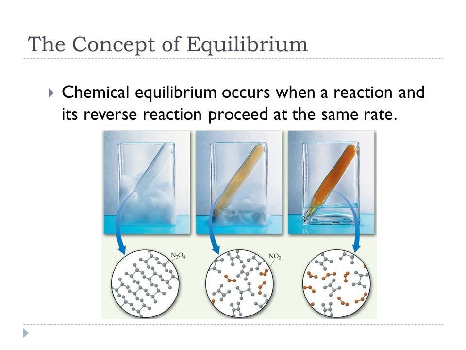 The Concept of Equilibrium  Chemical equilibrium occurs when a reaction and its reverse reaction proceed at the same rate.