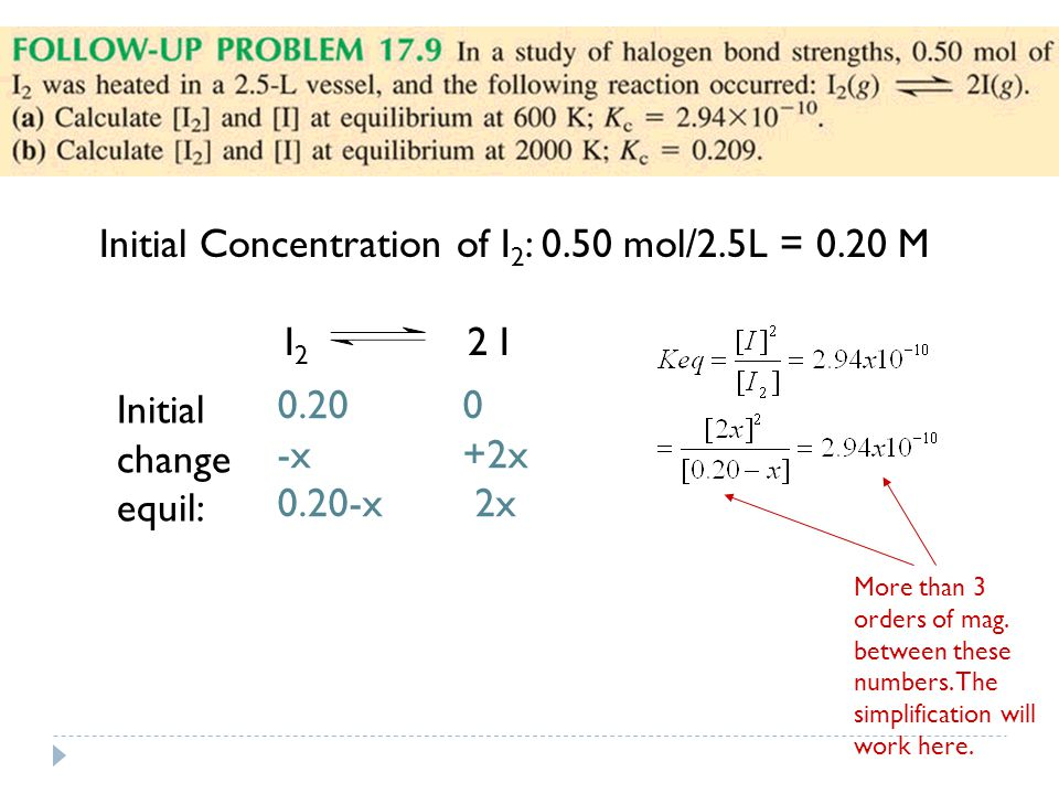 Initial Concentration of I 2 : 0.50 mol/2.5L = 0.20 M I 2 2 I Initial change equil: x +2x 0.20-x 2x More than 3 orders of mag.