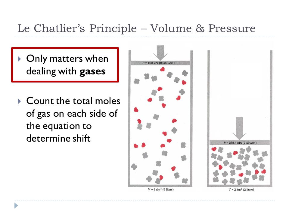 Le Chatlier's Principle – Volume & Pressure  Only matters when dealing with gases  Count the total moles of gas on each side of the equation to determine shift