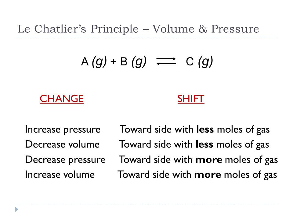 Le Chatlier's Principle – Volume & Pressure CHANGE SHIFT Increase pressure Toward side with less moles of gas Decrease volume Toward side with less moles of gas Decrease pressure Toward side with more moles of gas Increase volume Toward side with more moles of gas A (g) + B (g) C (g)