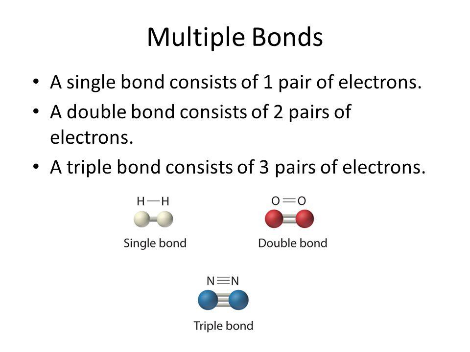 Multiple Bonds A single bond consists of 1 pair of electrons. A double bond consists of 2 pairs of electrons. A triple bond consists of 3 pairs of ele