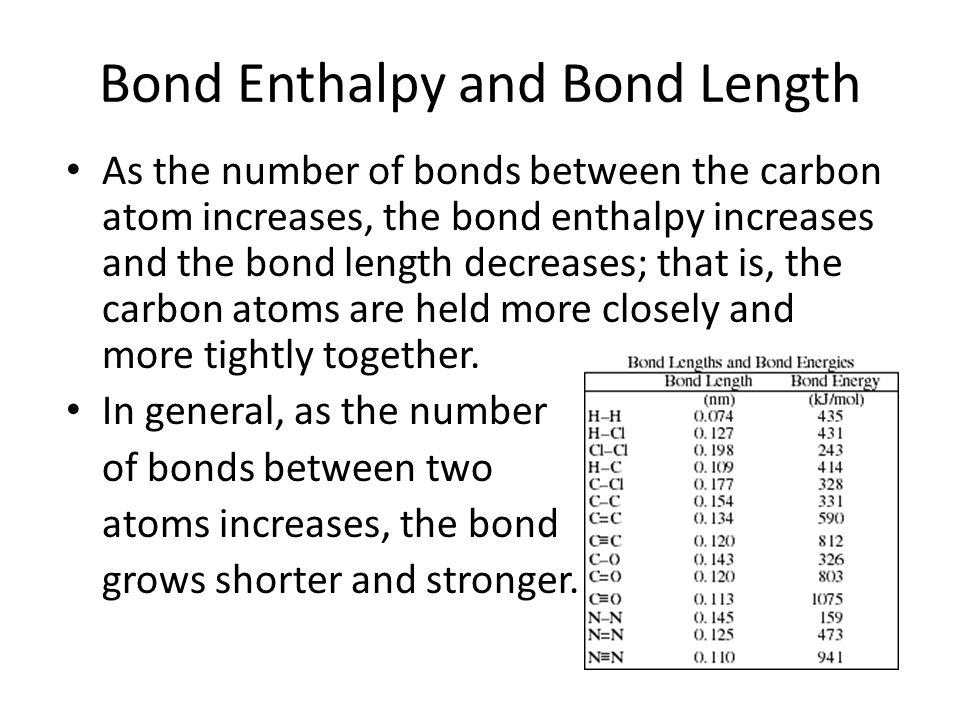 Bond Enthalpy and Bond Length As the number of bonds between the carbon atom increases, the bond enthalpy increases and the bond length decreases; tha