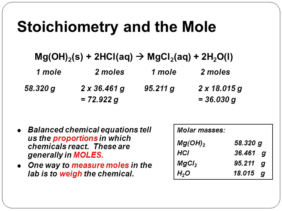 Stoichiometry and the Mole Mg(OH) 2 (s) + 2HCl(aq)  MgCl 2 (aq) + 2H 2 O(l) 1 mole2 moles 1 mole Molar masses: Mg(OH) 2 58.320 g HCl 36.461 g MgCl 2