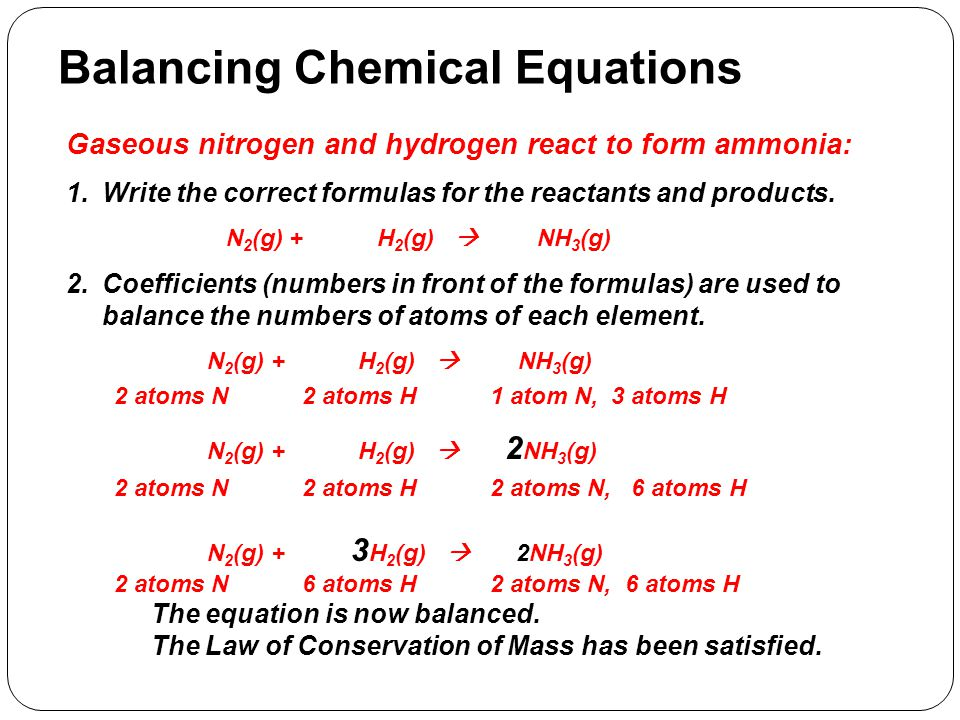 Balancing Chemical Equations Gaseous nitrogen and hydrogen react to form ammonia: 1.Write the correct formulas for the reactants and products. N 2 (g)