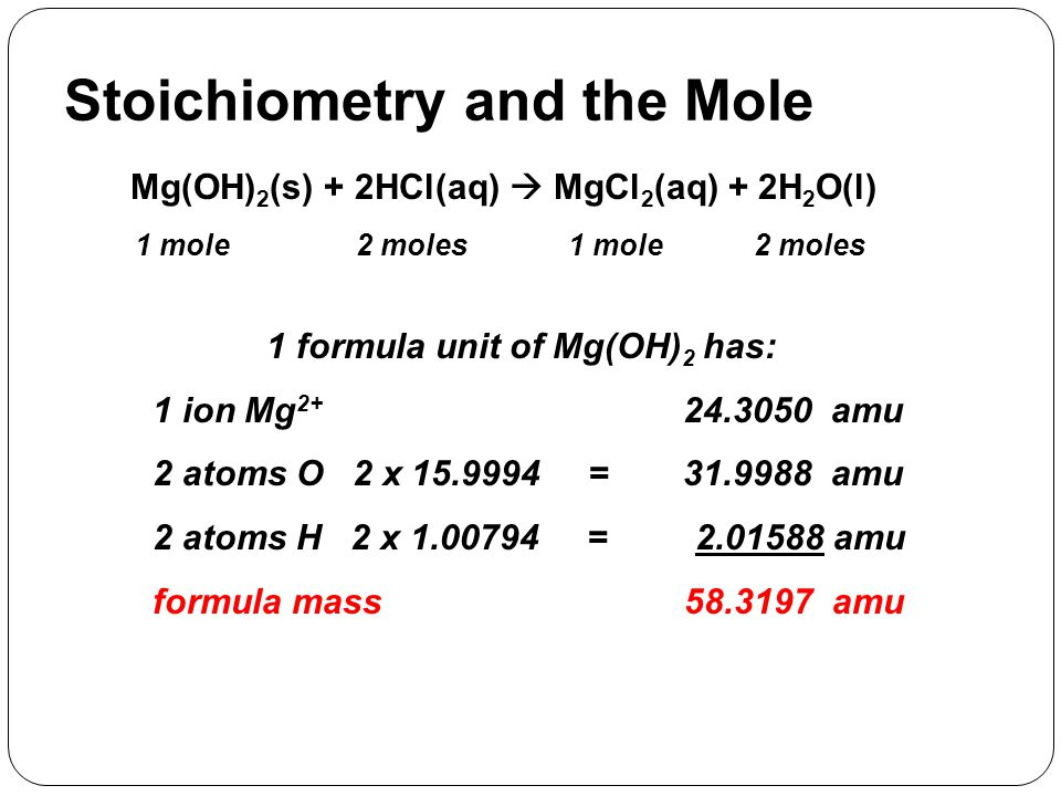 Stoichiometry and the Mole Mg(OH) 2 (s) + 2HCl(aq)  MgCl 2 (aq) + 2H 2 O(l) 1 mole2 moles 1 mole 1 formula unit of Mg(OH) 2 has: 1 ion Mg 2+ 24.3050
