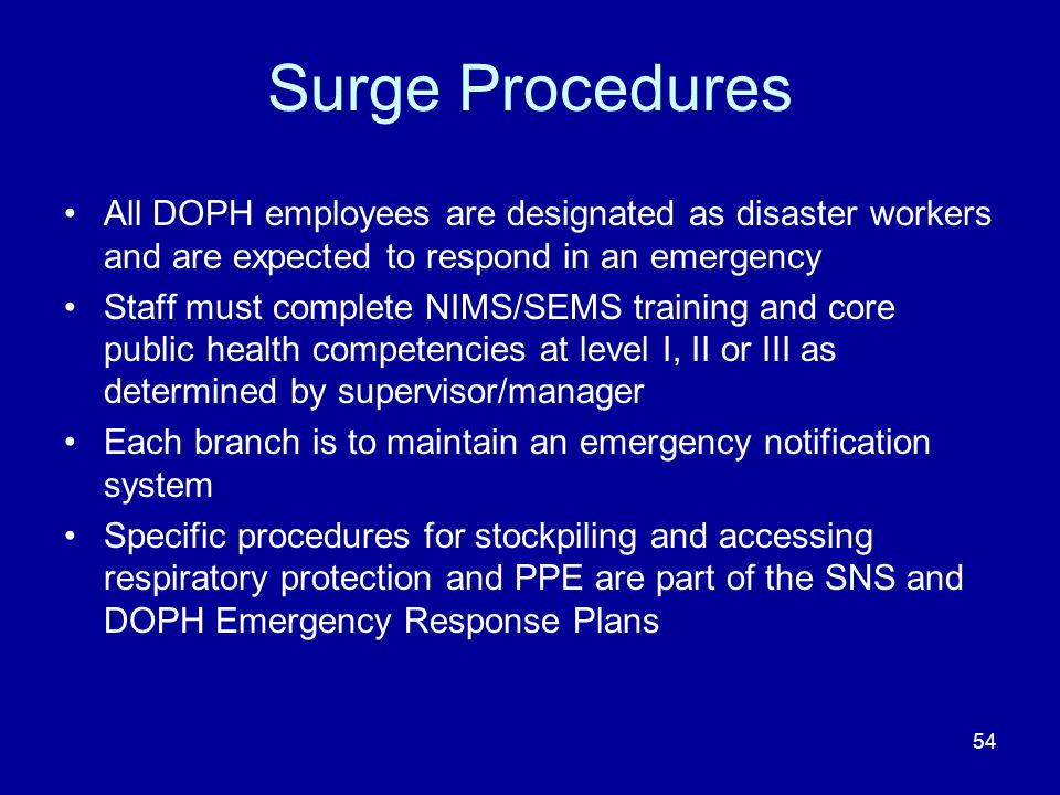 Surge Procedures All DOPH employees are designated as disaster workers and are expected to respond in an emergency Staff must complete NIMS/SEMS train