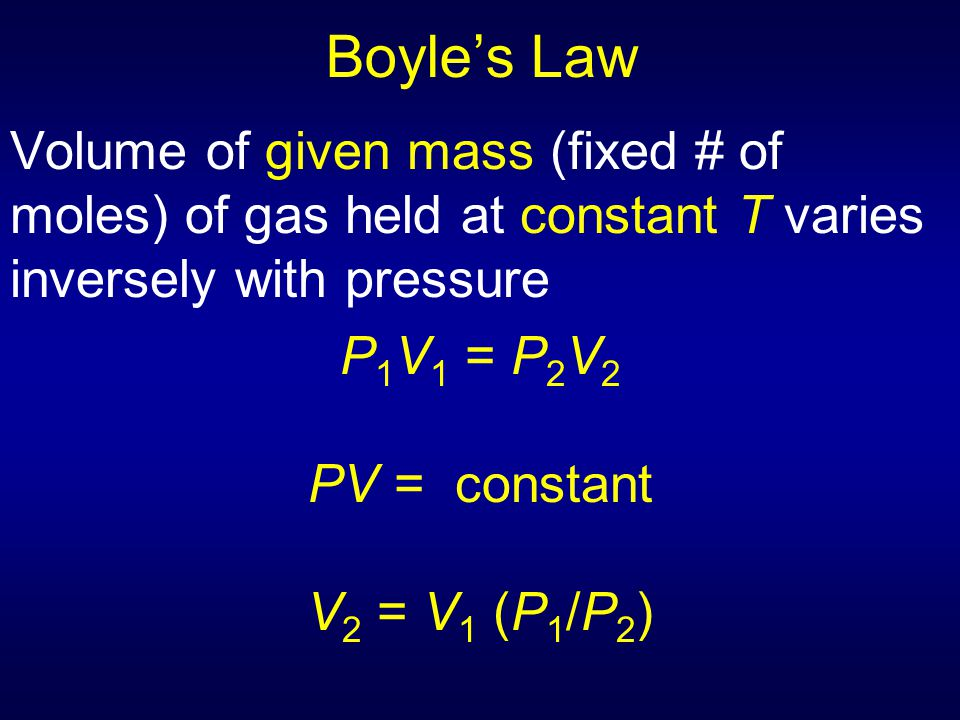 Boyle's Law Volume of given mass (fixed # of moles) of gas held at constant T varies inversely with pressure P 1 V 1 = P 2 V 2 PV = constant V 2 = V 1